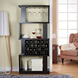 Wine Bar Cabinet Rack Room Divider 4 Tier Shelves Glass & Bottle Holders