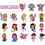 Sinceroduct 5D DIY Diamond Painting Kits for Kids and Adult Beginners,18PCS Stickers, Paint with Diamonds Kits Arts Crafts Easy to Paint Best Gift- Princesses Dance Girls and Fairies