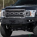 Topline Autopart Gray Silver RP Style Honeycomb Mesh Front Hood Bumper Grill Grille ABS with Amber LED Lights For 18-19 Ford F150