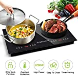 Trighteach Portable Induction Cooktop( Double Countertop Burner) 2200W Electric Stove with Digital Touch Sensor and Kids Safety Lock, 9 Power Levels Induction Cooker Suitable for Magnetic Cookware