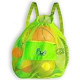 Mesh Bag Ball Beach Toy (Green - XXL) - Large Backpack for Basketball Pool Swim