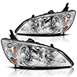 AUTOSAVER88 Headlight Assembly Fits for 2004 2005 Honda Civic Chrome Housing Headlamps