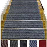 14 Pack-(8'x 30'),Non-Slip Stair Treads Carpet Indoor, Anti Slip Stair Mats, Skid Resistant Rubber Backing for Child Proofing/Pet Safety/Elderly Safety, Gray