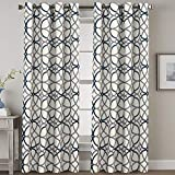 H.VERSAILTEX Navy Blackout Curtains 84 Inches Long for Bedroom- All Season Thermal Insulated Grey and Navy Geo Pattern Grommet Top Noise Reducing Curtains/Drapes/Panels for Livingroom, 2 Panels