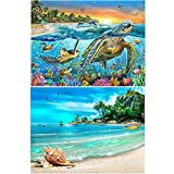 Diamond Painting Kits for Adults Kids,2 Pack 5D DIY Blue Sea Diamond Art Accessories with Round Full Drill for Home Wall Decor - 15.7×11.8Inches