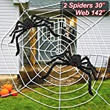 LUDILO 3PCS Halloween Spider Web Halloween Spider Decorations 142' Mega Spider Web 30' Giant Spider Huge Spider Web Indoor Outdoor Halloween Decorations Costume Party Garden Yard Haunted House Décor