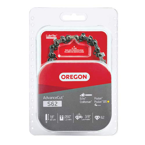 1. Oregon S62 AdvanceCut 18-Inch Chainsaw Chain Fits Craftsman, Homelite, Poulan