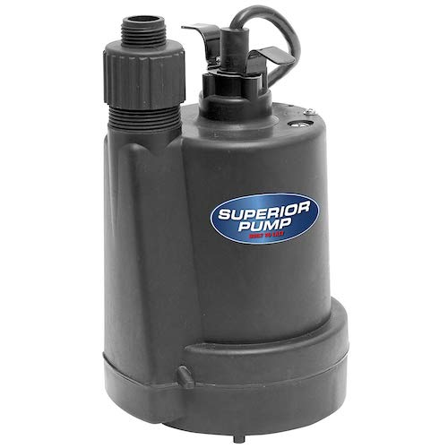 3. Superior Pump 91250 1/4 HP Thermoplastic Submersible Utility Pump with 10-Foot Cord