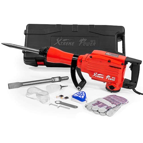 9. XtremepowerUS 2200Watt Heavy Duty Electric Demolition Jack hammer Concrete Breaker W/Case, Gloves