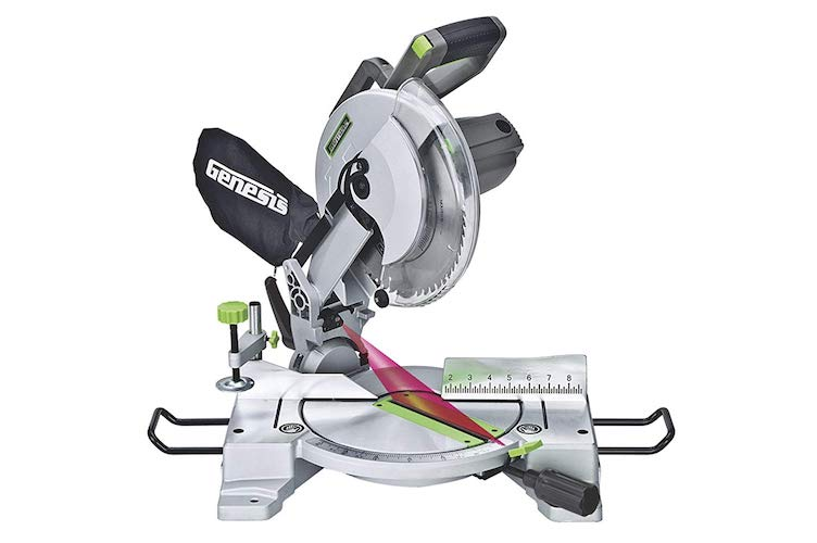 4. Genesis GMS1015LC 15-Amp 10-Inch Compound Miter Saw with Laser Guide and 9 Positive Miter Stops
