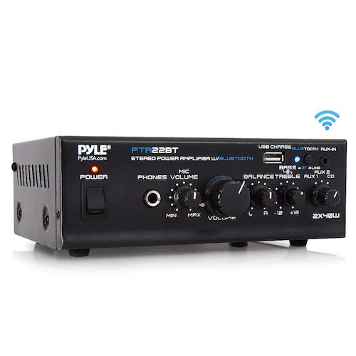 4. Bluetooth Mini Blue Series Home Audio Amplifier - Compact Desktop Home Theater Stereo Amplifier Receiver Pyle PTA22BT