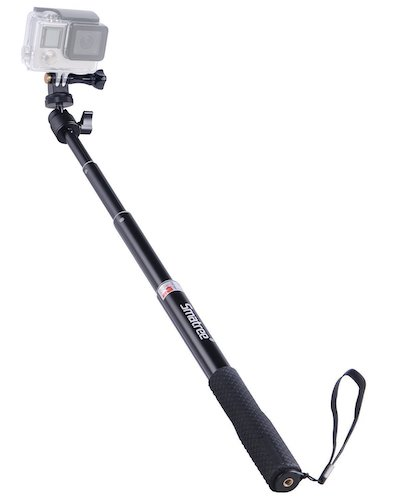 5.Smatree Extendable Aluminum Selfie Stick/Monopod for GoPro Hero, AKASO GeekPro Xiaomi Yi Camera (Black)