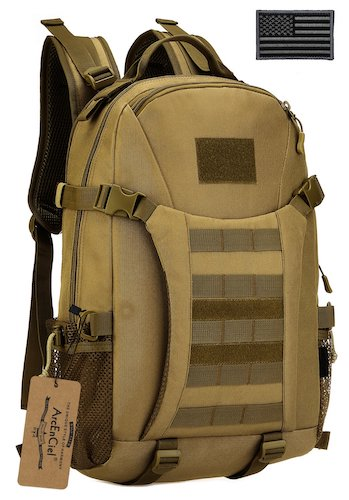 9. ArcEnCiel Men Tactical Military Molle Gym Bag Badminton Backpack with Patch -Rain Cover Included