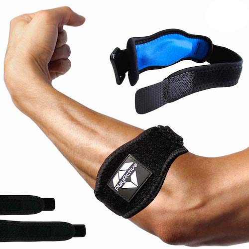 5. Tennis Elbow Brace (2+2 Pack) for Tendonitis - Best Tennis & Golfer's Elbow Strap Band with Compression Pad by PlayActive