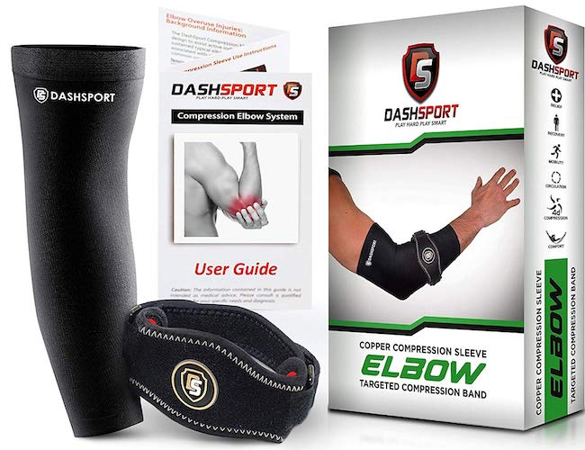 7. DashSport Tennis Elbow Brace – Copper Compression Elbow Sleeve The Original Elbow System Complete Support Pain Relief from Golfer Tennis Elbow