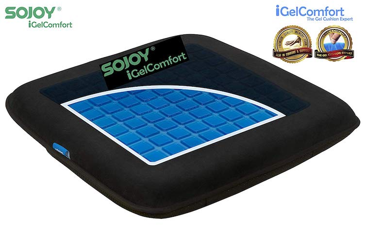 8. Sojoy iGelComfort Enhanced Multi-Use (Car/Office/Truck/Home/Wheelchairs/Outside) Gel Seat Cushion with Memory Foam (Black) (16x16x2)