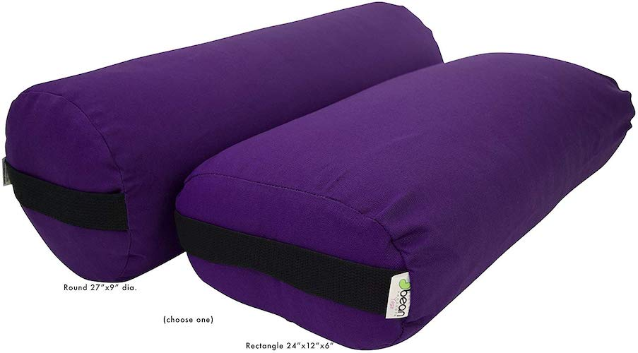 4.Bean Products Best Yoga Bolsters - Rectangle, Round or Pranayama Support Cushions- Made in USA