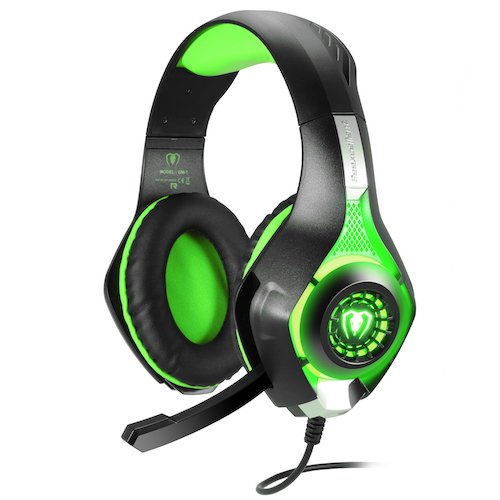 6.BlueFire 3.5mm PS4 Gaming Headset Headphone with Microphone and LED Light (Green)