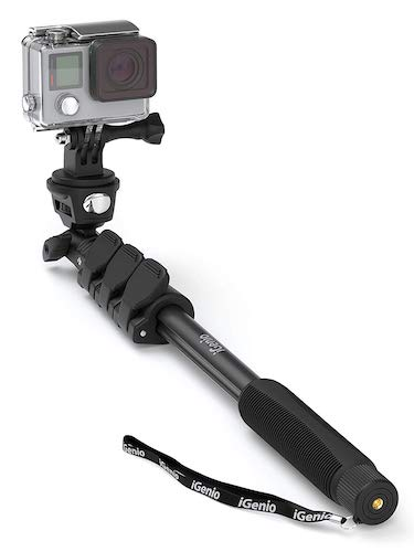 6.Professional 10-In-1 Selfie Stick Monopod For GoPro Hero, Action Cameras, Cell Phones, Digital Compacts, (Black)