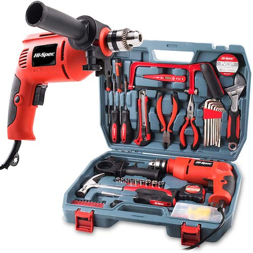 3.Hi-Spec 300W Hammer Power Drill & 130pc Hand Tool Set Combo Kit in Storage Case