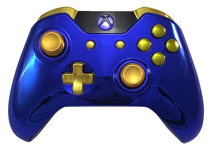 8.Blue Chrome Gold Xbox One GM Master Mod Modded Controller byGeniusmods