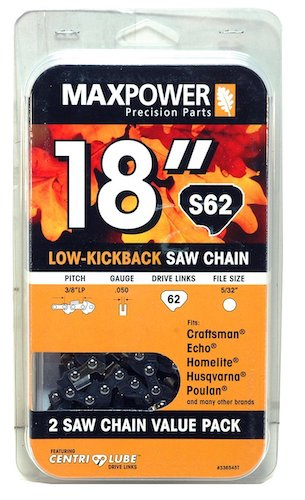 4. Maxpower 2 Pack Replacement Chains for 18 Inch Craftsman, Echo, Homelite, Poulan and Other saws S62