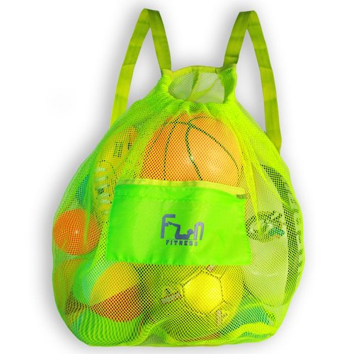 10. MESH SPORTS BAG - Large Backpack for Soccer Ball, Basketball, Swim, Pool Toy by FunFitness