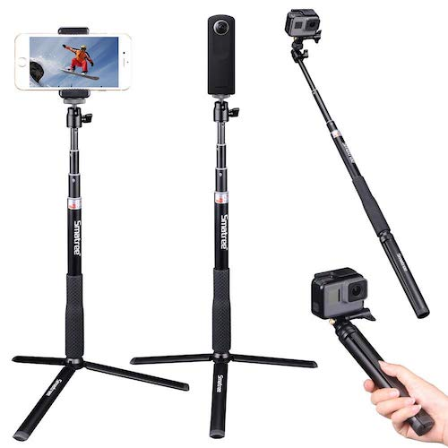 2.Smatree Extendable Selfie Stick 36.6'' with Tripod Stand for GoPro, Ricoh Theta S/V M15,Compact Cameras,iPhoneX,Galaxy S8/More