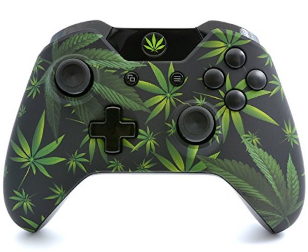 4.Soft Touch 420 Black Xbox One Custom UN-MODDED Wireless Controller with Custom Guide Button (3.5 mm Jack) byModdedZone