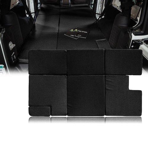 2.Xprite Black Jeep Wrangler JKU 2007-2018 Sleeping Mattress Camping Pad Bed Platform, NitePad Sand Premium 1.5-inch Thick Portable Trunk Cushion