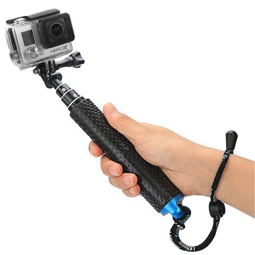 """9.Foretoo Selfie Stick for GoPro, 19""""Waterproof Hand Grip Adjustable Extension Monopod Pole for (with Wrist Strap and Screw)"""