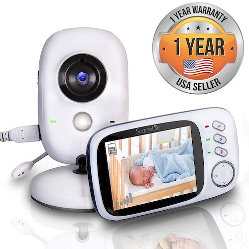 7. SereneLife Wireless Video Baby Monitor - Dual System w/ Sleep Camera, Rechargeable Battery, Portable Mobile Clip - SLBCAM20