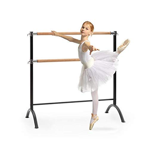 3. Klarfit Barre • Double Ballet Bar • Free-Standing • 43 x 44 inches • 2 x 1.5 inches Ø • Powder-Coated Steel Tubes with Wooden Look