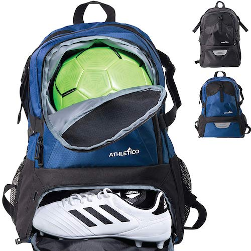 8.  Athletico National Soccer Bag - Backpack for Soccer, Basketball & Football Includes Separate Cleat and Ball Holder