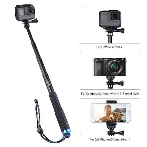1.Vicdozia 19'' Waterproof Hand Grip Adjustable Extension Selfie Stick Handheld Monopod Compatible with GoPro Hero, AKASO, Xiaomi Yi More (Blue)
