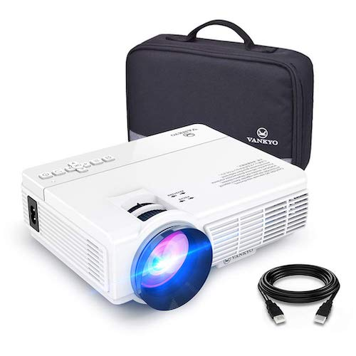 1.VANKYO LEISURE 3 Mini Projector, 2400 Lux Portable Movie Projector with 40,000 Hrs LED Lamp Life