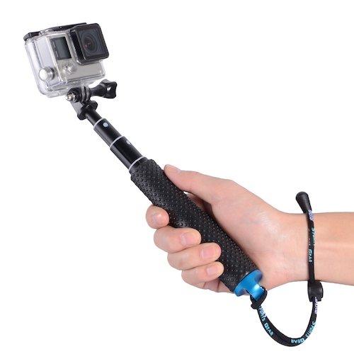 "10.Trehapuva Selfie Stick, 19"" Waterproof Hand Grip Adjustable Extension Monopod Pole (Blue)"
