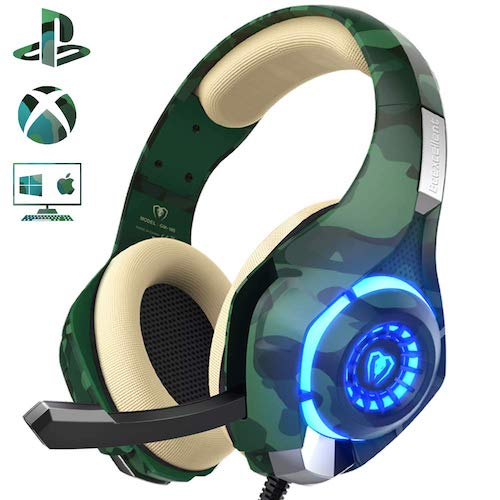 5.Gaming Headset for PS4 Xbox One PC, Beexcellent Stereo Sound Headphones with Noise Reduction Mic and LED Light (Camo)