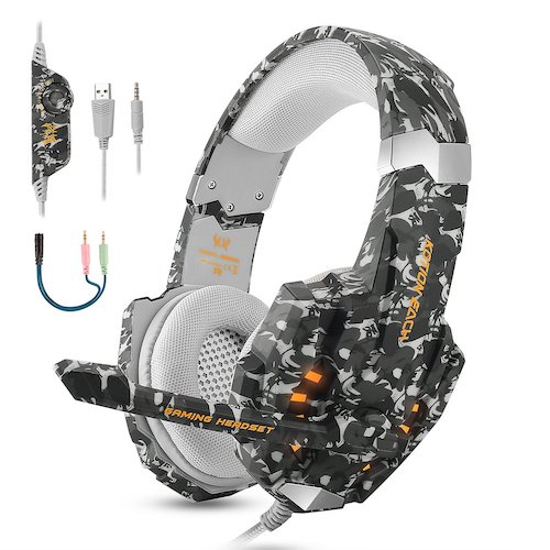 10.BGOOO Stereo Gaming Headset for PS4, PC, Xbox One, Professional 3.5mm Noise Isolation Over Ear Headphones (Camouflage)