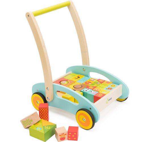 4. cossy Wooden Baby Learning Walker Toddler Toys for 1 Year Old Forest Theme Blocks & Roll Cart Push & Pull Toy (37 Pcs)