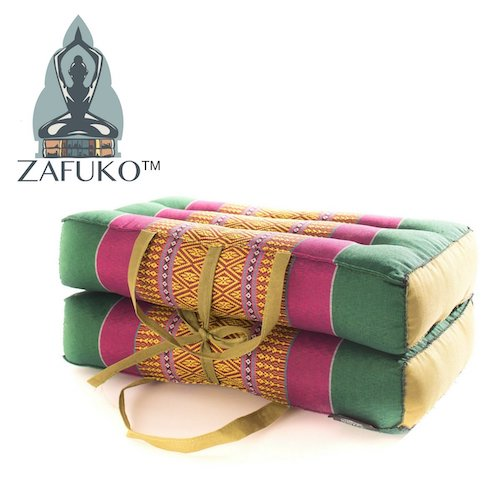 6. Zafuko Yoga, Meditation, Kundalini and Pilates Foldable Cushion (Zafu) for on-The-go Wide Long Block, Bolster, Floor Pillow, Prop