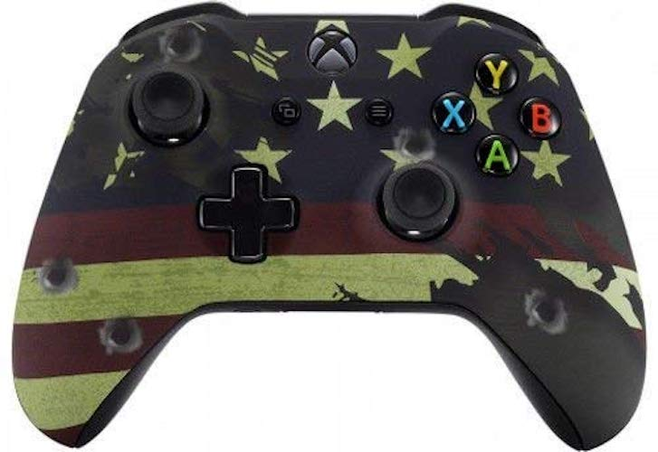1.American Flag Xbox One S/X Rapid Fire Custom Modded Controller 40 Mods for All Major Shooter Games WW2 (with 3.5 Jack) byModdedZone