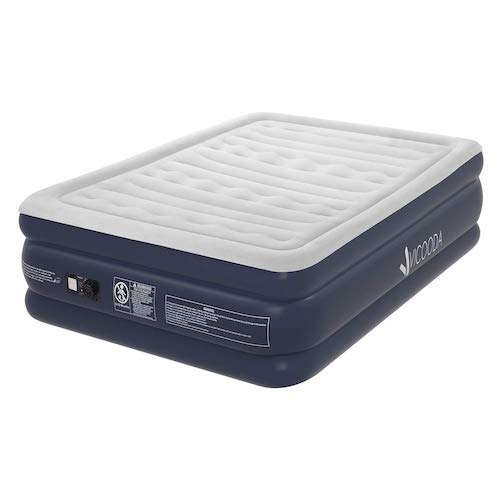 6. VICOODA Queen/Twin Air Mattress, Air Bed for Camping and Home Use, No Leak, with Rechargeable Pump