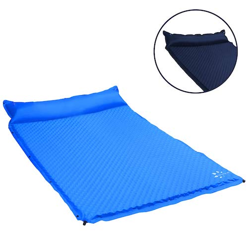 2. FRUITEAM Sleeping pad Double self Inflating Camping pad Large for 2 Person air Mattress with Pillow