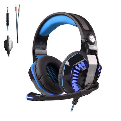 8. PS4 Headset Gaming Headset for PC Xbox One Headphones with Mic Headset for Gaming Computer (Blue) by KrolTronics