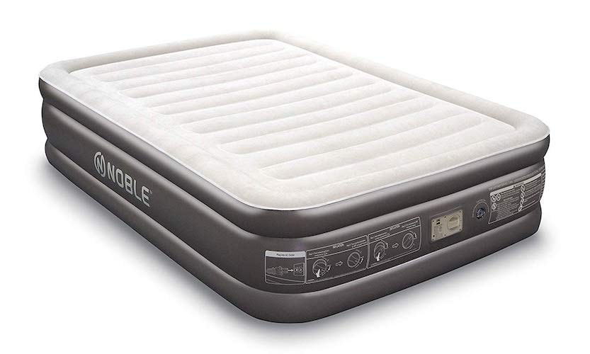9.Noble QUEEN SIZE Comfort DOUBLE HIGH Raised Air Mattress - Top Inflatable Airbed with Built-in Pump