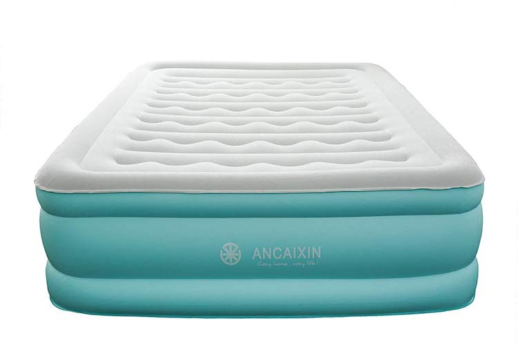 7.Ancaixin Updated Queen Air Mattress with Built-in Pump, Full Size Camping Airbed, Raised Comfort Guest Bed, 80 x 60 x 18 inches Aqua/Grey
