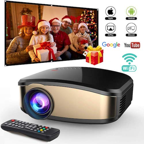 10. Wireless WiFi Video Projector DIWUER Projector +50% Brighter Full HD 1080P Portable Mini Projectors Support Airplay Mira-cast