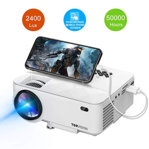 4.Mini Projector, TOPVISION 2400Lux Projector with Synchronize Smart Phone Screen, Supported 1080P, 176