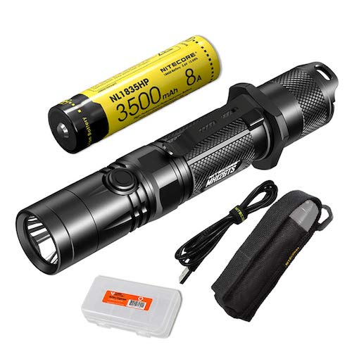 4. Nitecore MH12GTS 1800 Lumen Long Throw USB Rechargeable Tactical Flashlight with High Performance Battery & LumenTac Organizer